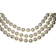 Vintage White Fake Glass Pearls 60 Inches