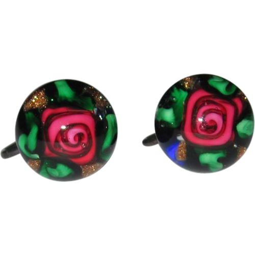 Rare Charles Kaziun Paperweight Earrings