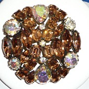 Beautiful Large Rhinestone Brooch Amber Colors