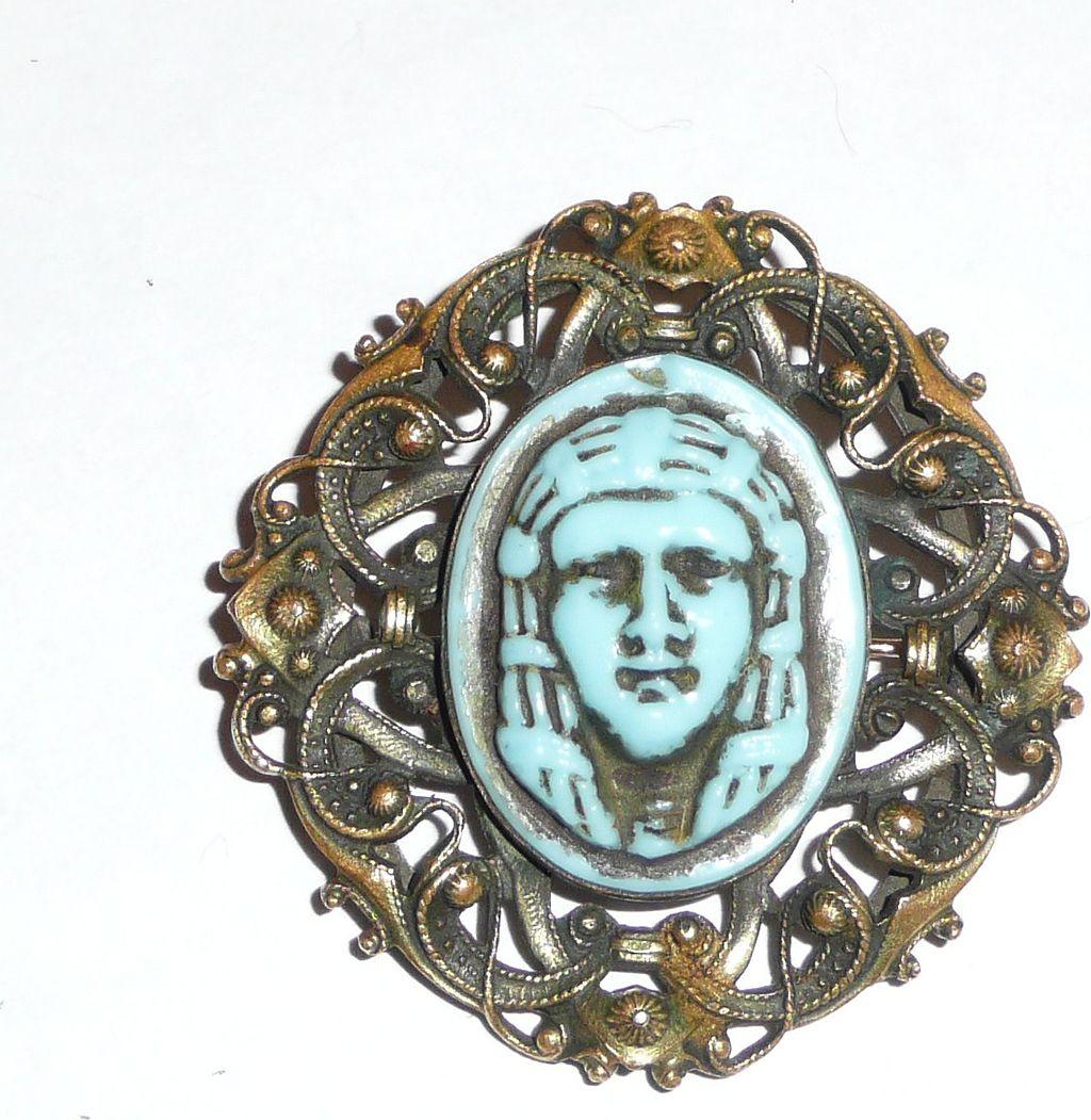 Art Deco Egyptian Motif brass and Glass Pin
