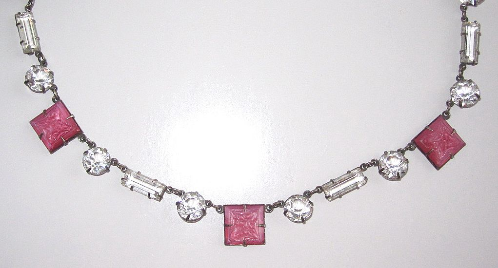 Art Deco Crystal Open Back Necklace