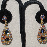 Colorful Vintage ART Clip Earrings Drops