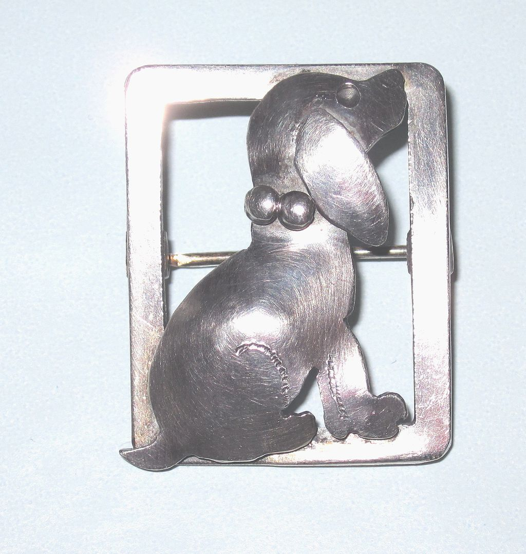 Sweet Arts & Crafts Sterling Puppy Pin