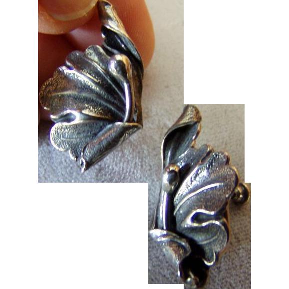 Artist Silver Vintage Screwback Earrings Sterling
