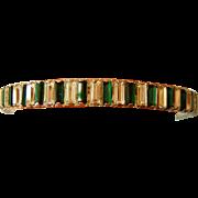 Vintage Large Rhinestone Green White Bangle Bracelet