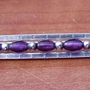 Victorian Sterling Bar Pin Engraved Purple Stones