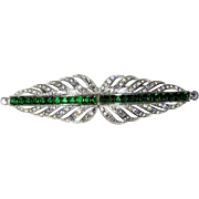 Best Art Deco Brooch Green Rhinestones