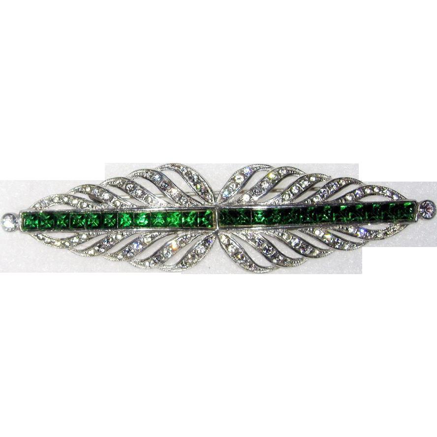 Best Art Deco Brooch Green Rhinestones