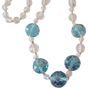 Best Vintage Faceted Crystal Aqua with Roses and White Beads