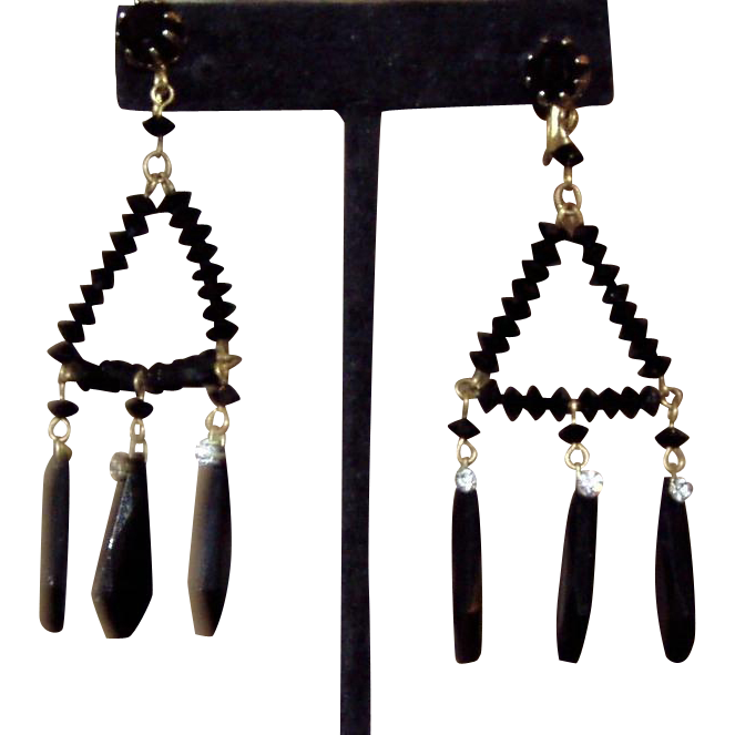 It's All About Black Vintage Long Chandelier Earrings