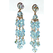 Best Vintage Crystal Blue Long Beaded Earrings Clip