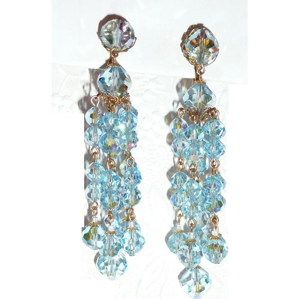 Best Vintage Crystal Blue Long Beaded Earrings Clip
