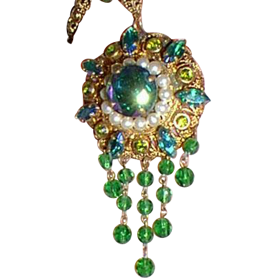 Vintage Pendant Necklace Green and Pearls Western Germany