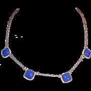 Art Deco Vintage Blue Glass Delicate Necklace