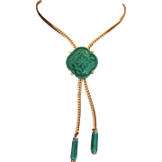 Vintage Bolo Necklace Green Ceramic