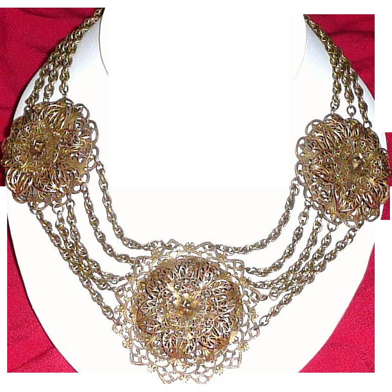 1930's Stupendous Filigree Necklace
