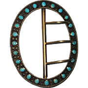 Victorian 800 Silver Turquoise Buckle