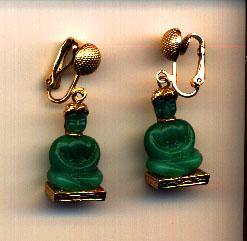 Vintage Clip Green Glass Buddha Earrings