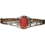 Victorian Hinged Coral Cameo Bangle Bracelet