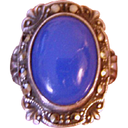 Beautiful Vintage Blue Chalcedony Marcasite Ring