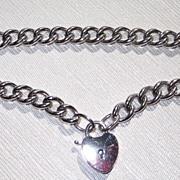 Vintage Sterling Padlock Heart Bracelet
