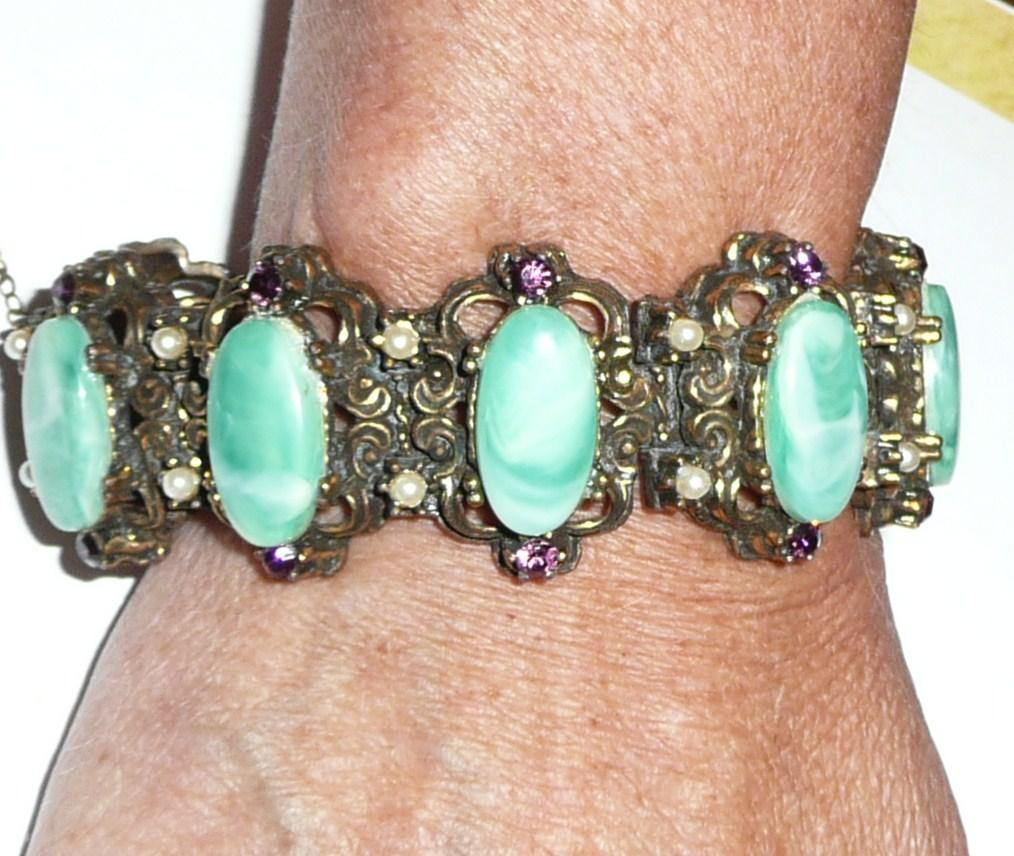Vintage Chunky Green and Purple Bracelet