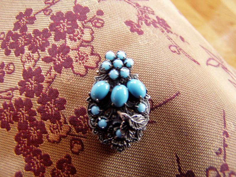 Vintage Glass Turquoise Dress Clip