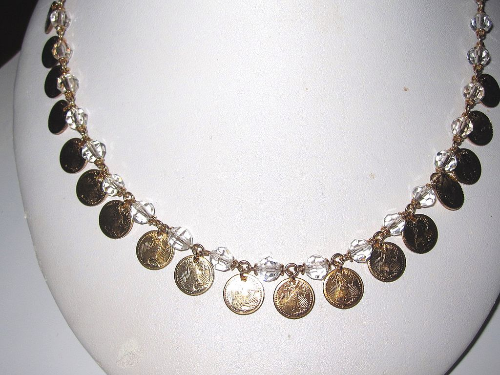 Vintage Crystal Beads with Miniature Coins