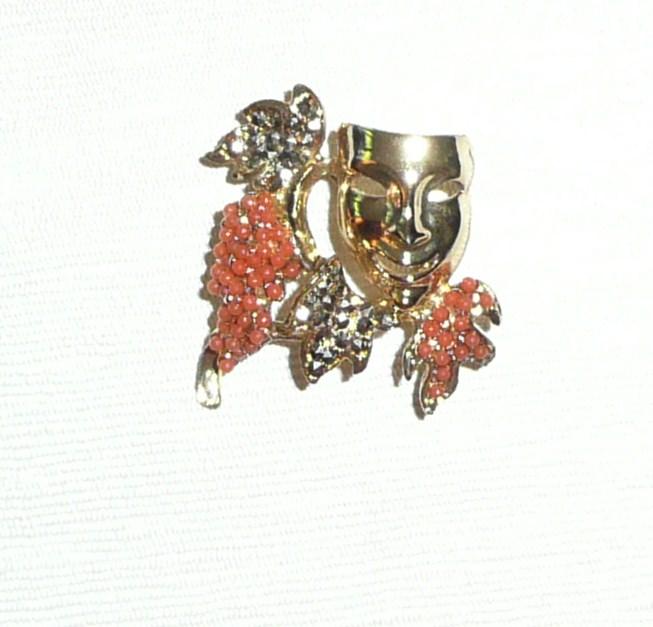 Vintage Small Pin Comedy Mask Grapes