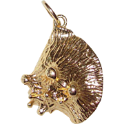 14K Solid Charm or Pendant Sea Shell