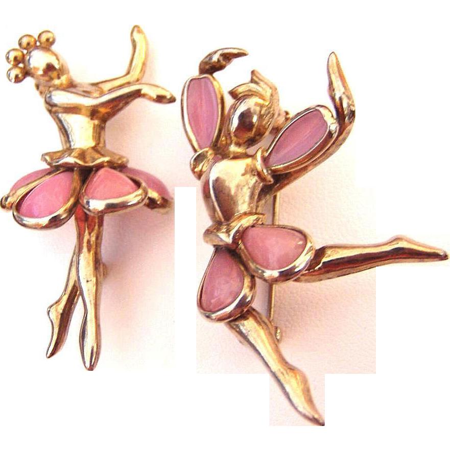 Trifari Male and Female Ballet Dancers Glass
