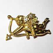 Goldtone Cupid Pin Diamond Arrows