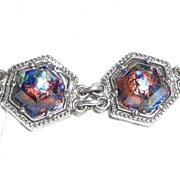 Incredible Sterling Art Glass Bracelet