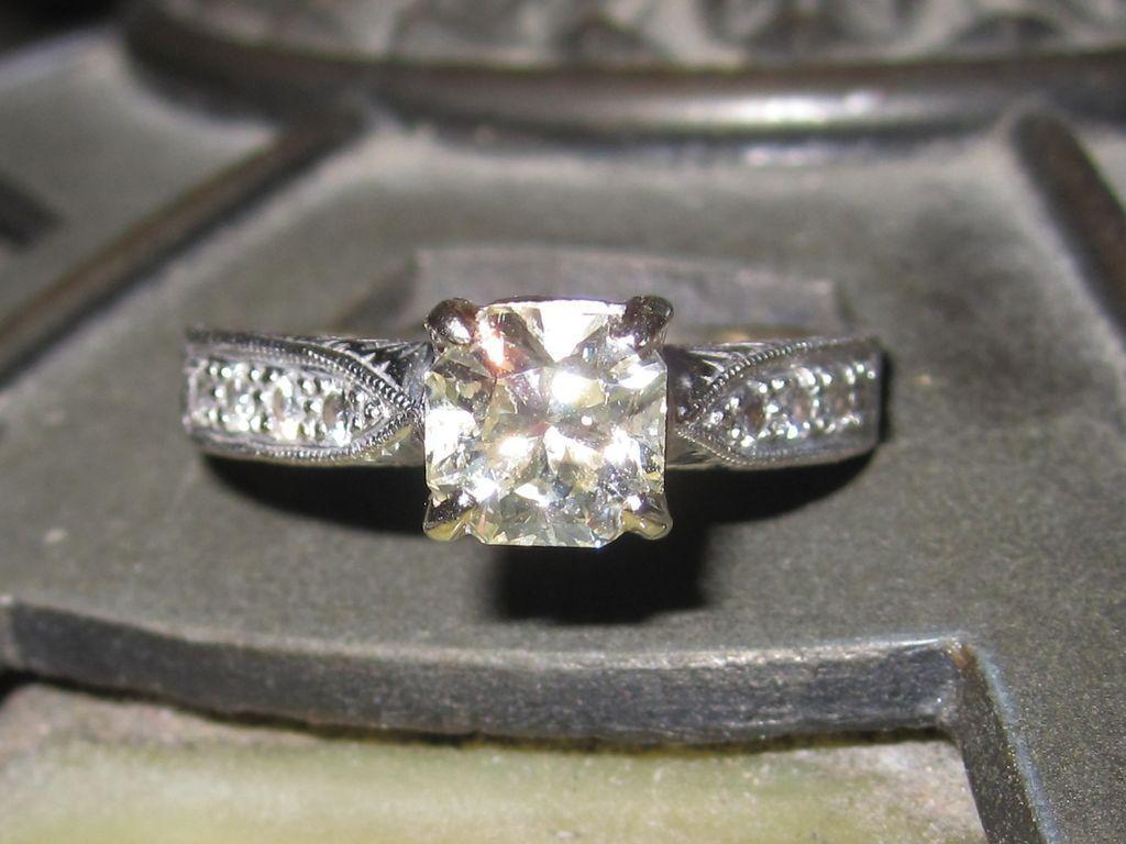 Asscher Cut Vintage Diamond Ring Solitaire 18K White Gold