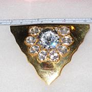 Dress Clip Large Headlight Vintage Gold Tone