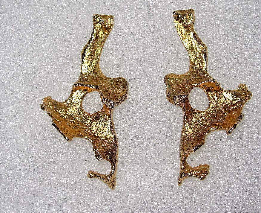 Estate Artist Large Modern Abstract Earrings Gold