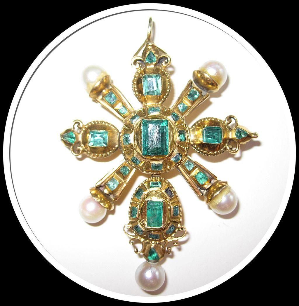 Rare 18th Century Emerald Pendant Gold SALE