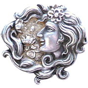 Art Nouveau Silver Plated Brooch
