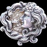 Art Nouveau Silver Plated Brooch