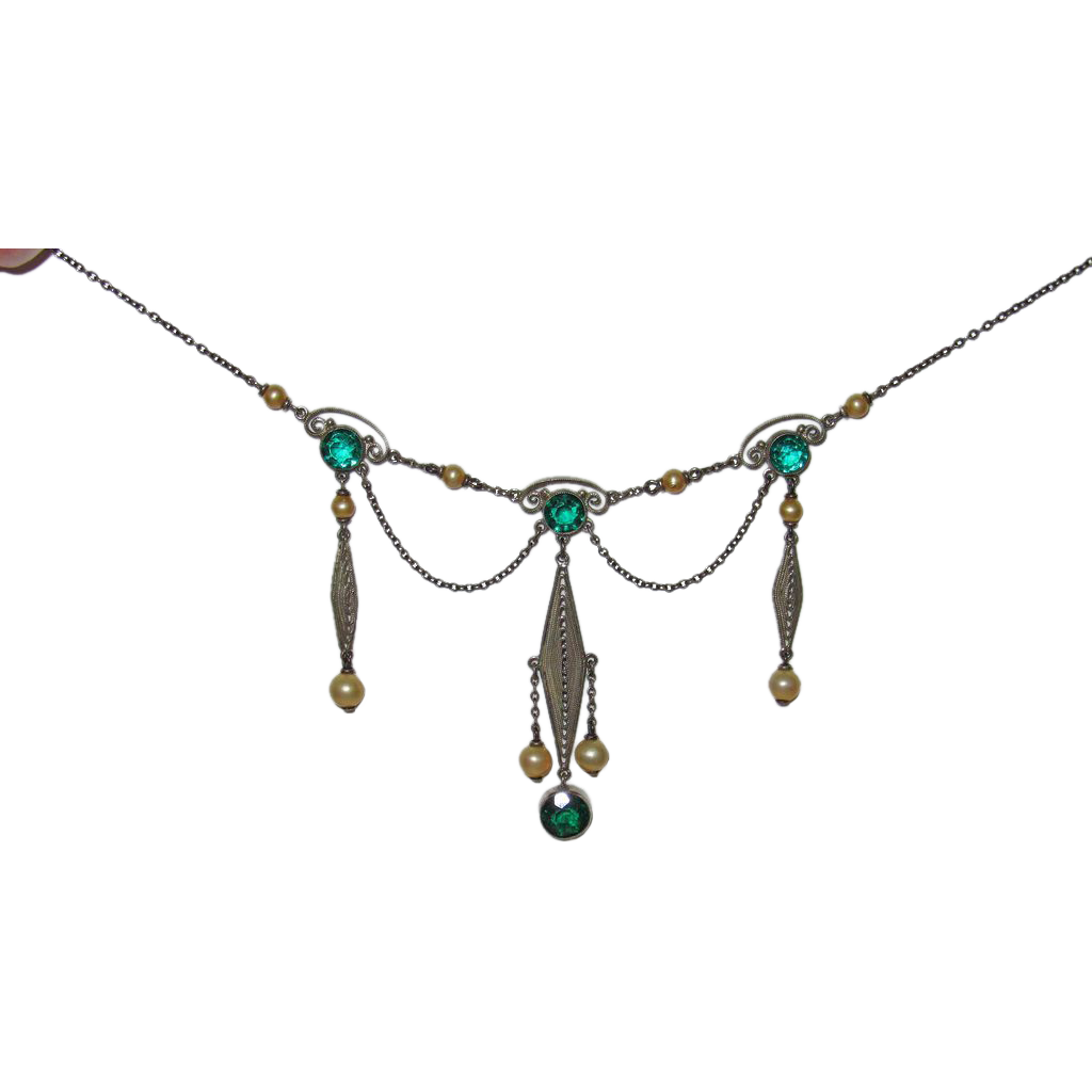 Vintage Sterling Filigree Festoon Necklace