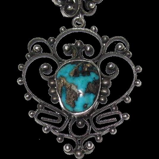 Filigree Silver Turquoise Pendant