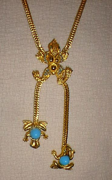 Bright Gold Tone Frog Necklace Bolo Style