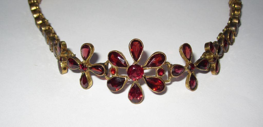 Antique Floral Garnet Bracelet Gorgeous