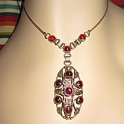 Arts & Crafts  Sterling Garnet Pendant