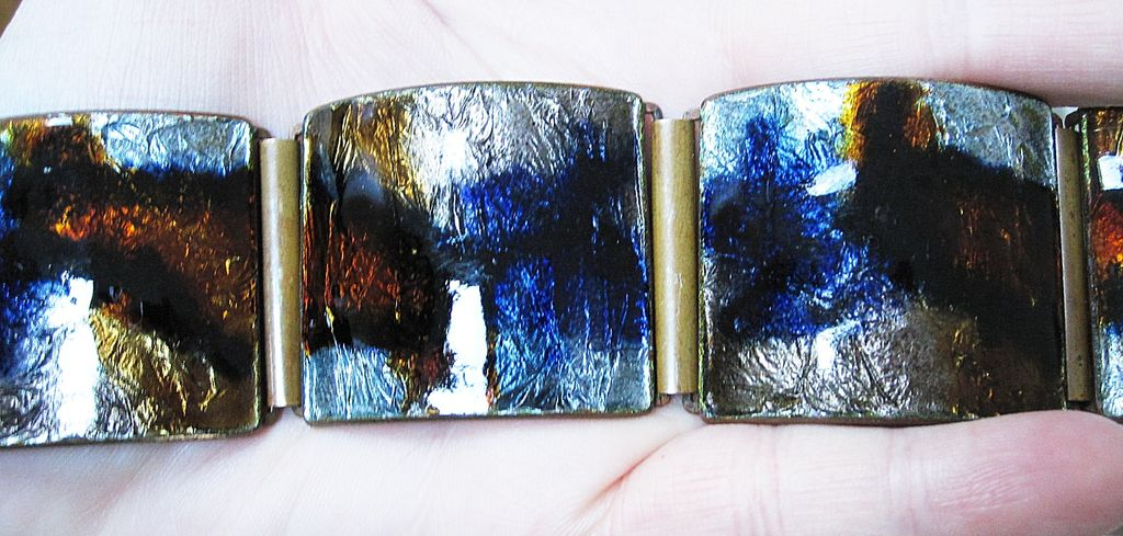Glossy Foiled German Wide Enamel Bracelet