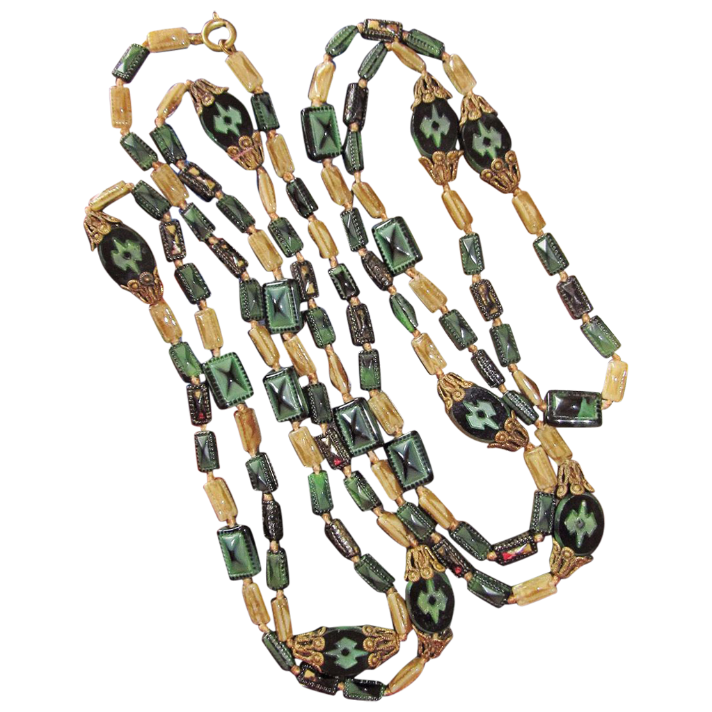 Long Deco Flapper Beads Glass 64 Inches