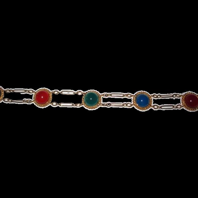 Gold Filled Bracelet Chalcedony, Carnelian and Green Onyx