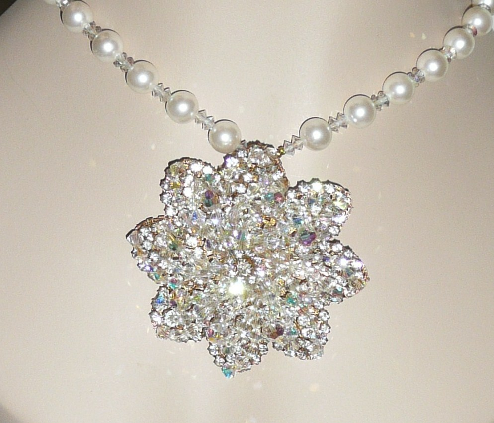 Large Brooch / Pendant Crystals Rhinestones Fit for a Bride
