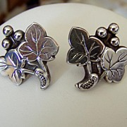 Vintage Sterling Grape Motif Earrings