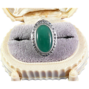 Vintage Marcasite Sterling Green Agate Ring